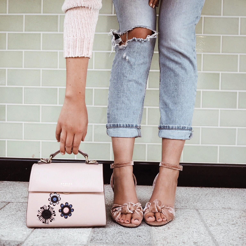Cocoa Chelsea Instagram jesschamilton Radley handbag pink velvet details jeans