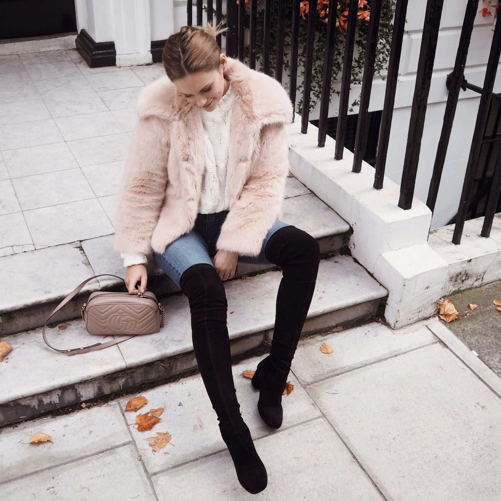Selfridges Maje boots luxury london street style cocoa chelsea from above