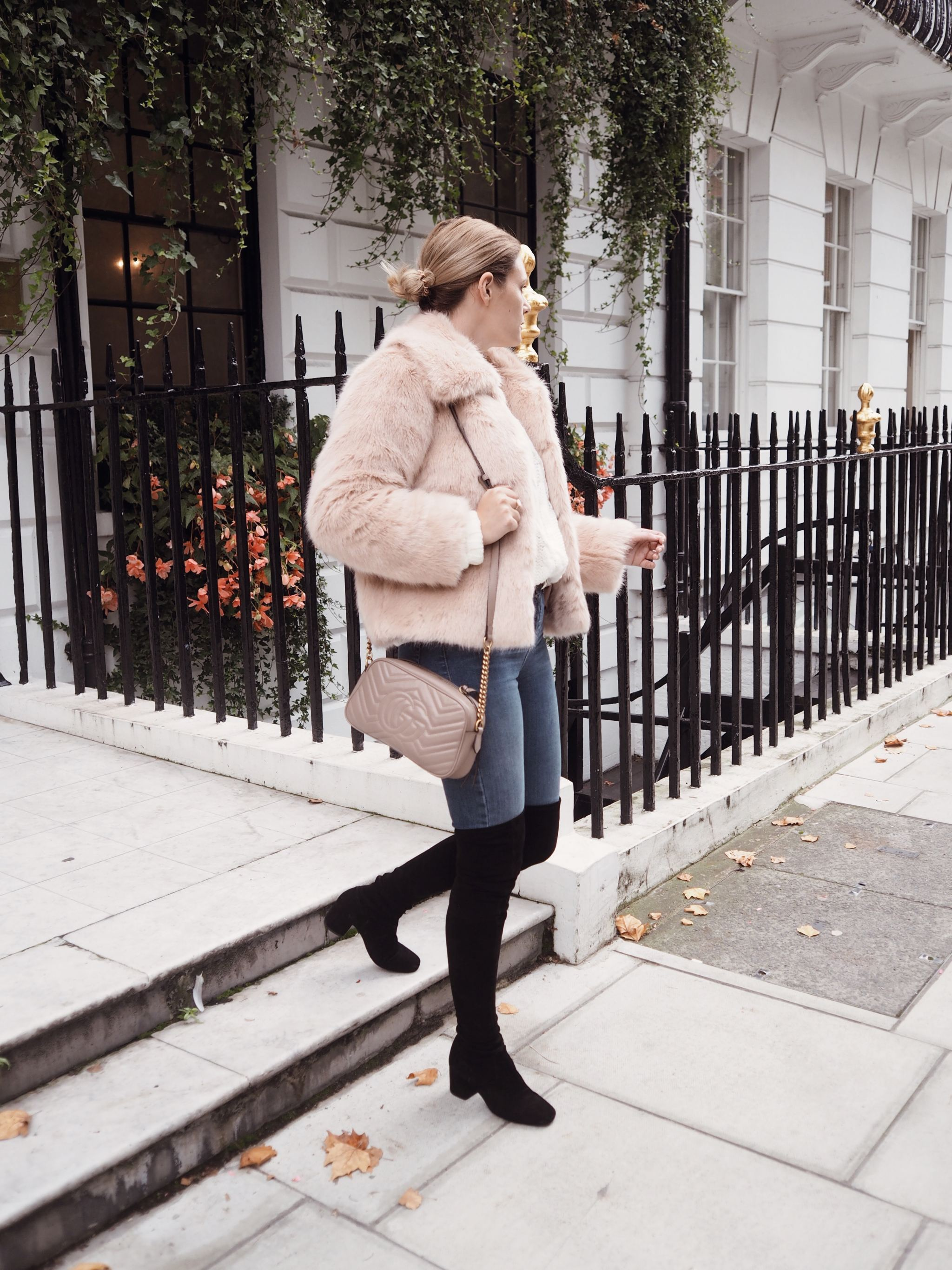 Selfridges Maje boots luxury london street style cocoa chelsea walking fur coat