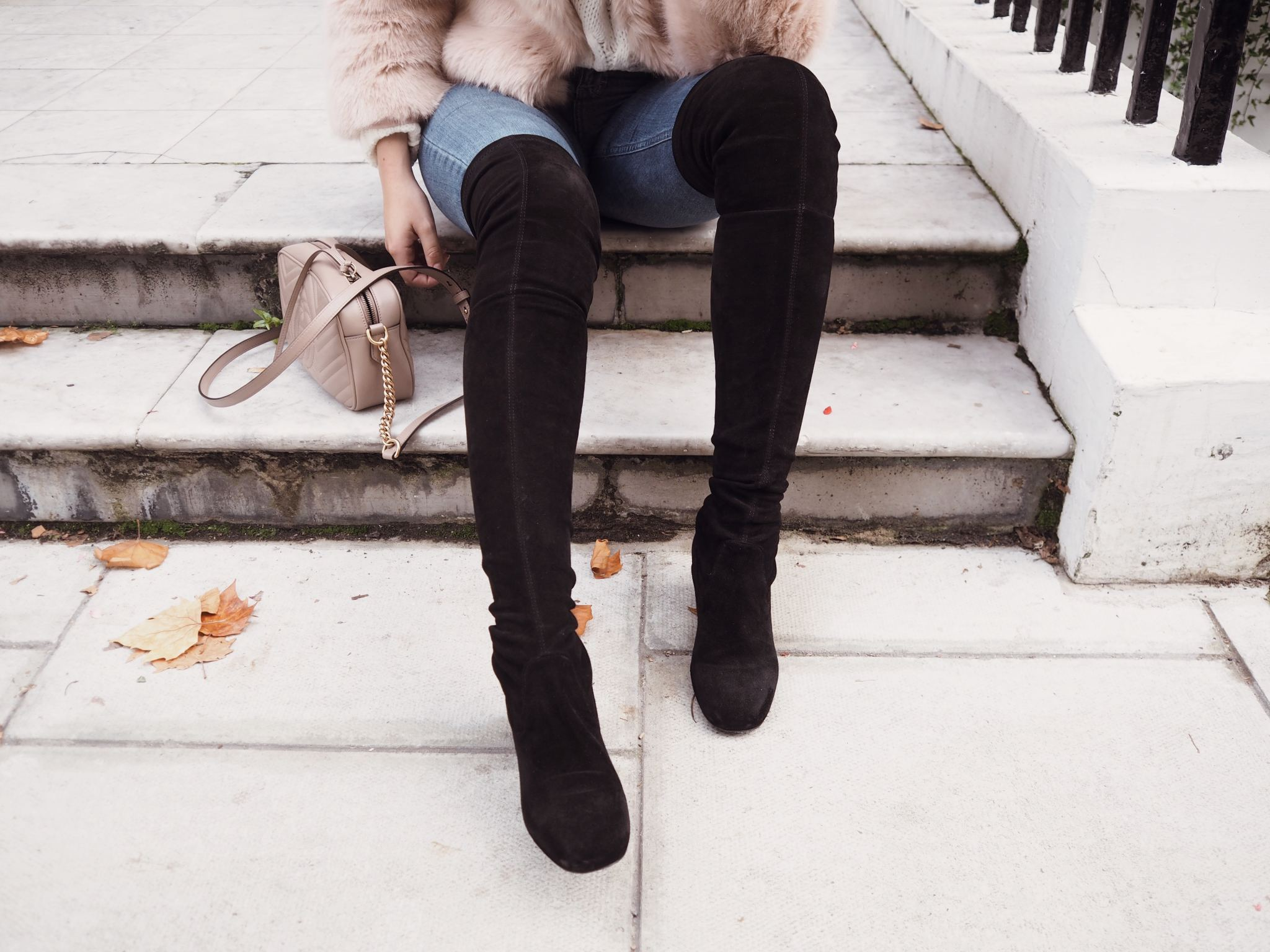 Selfridges Maje boots luxury london street style cocoa chelsea close up of shoes