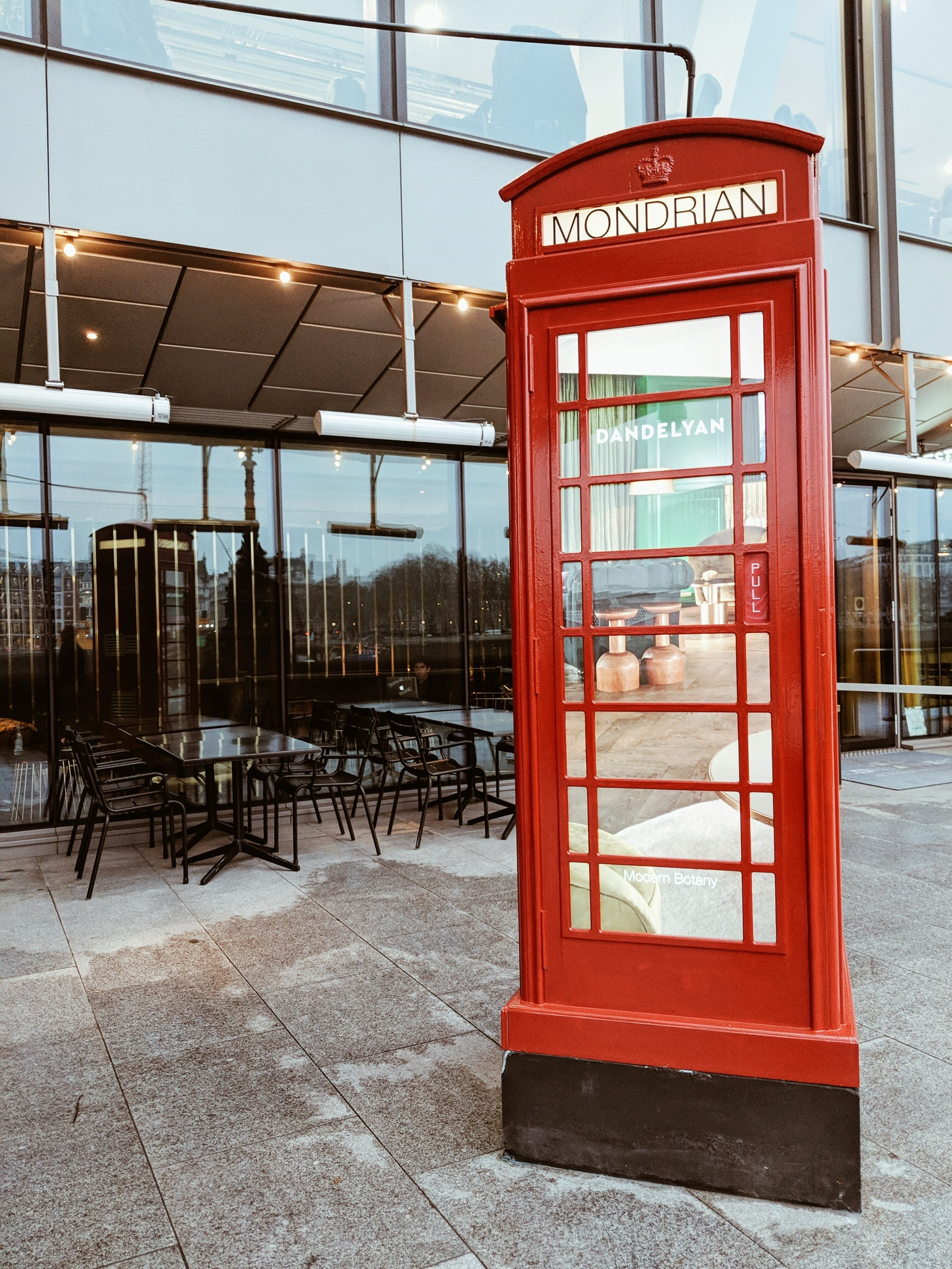 Mondrian Hotel Cocoa Chelsea morgans girls night phone box red telephone thames