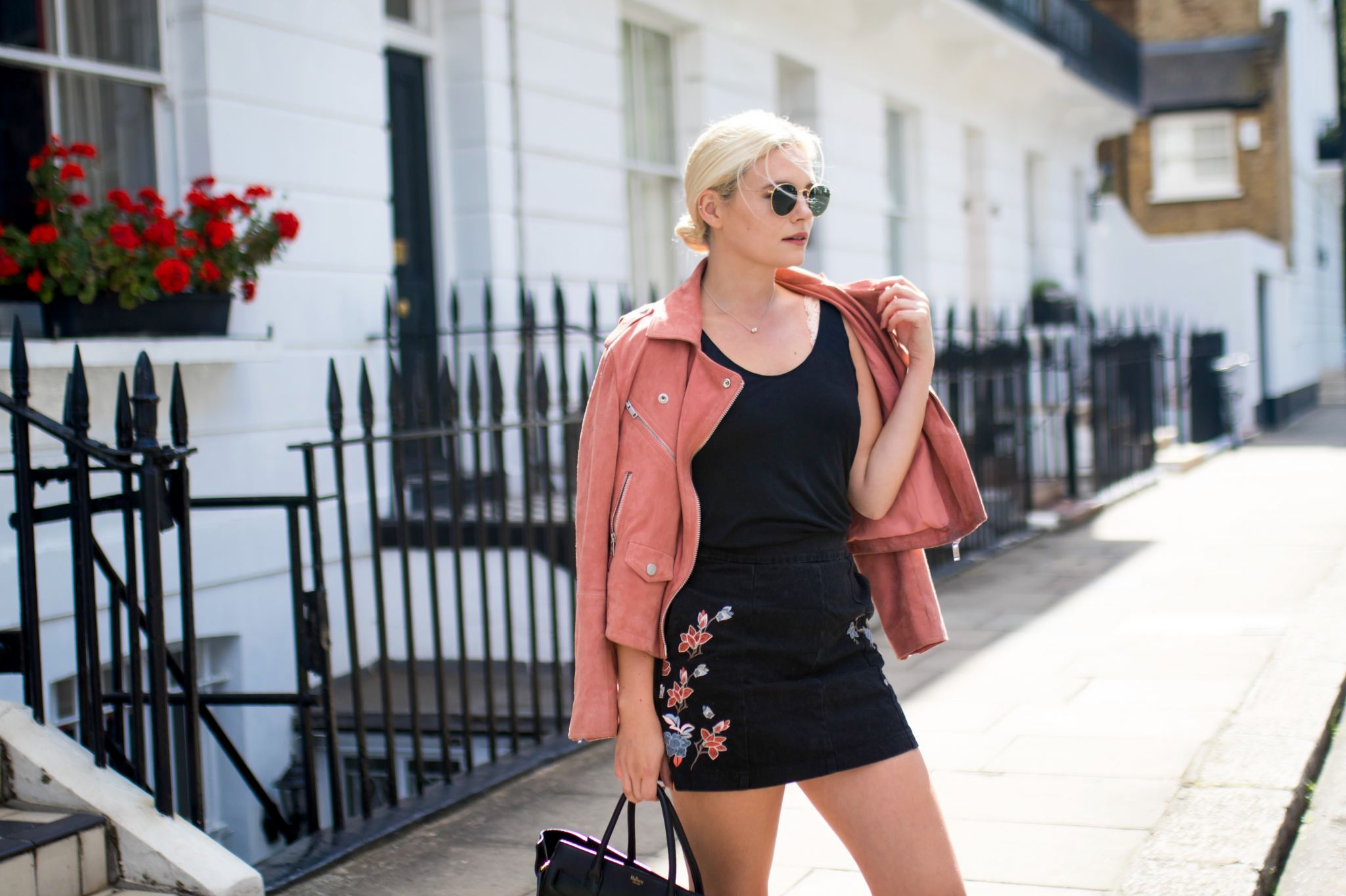 pink suede superdry jacket mulberry bag and topshop shoes