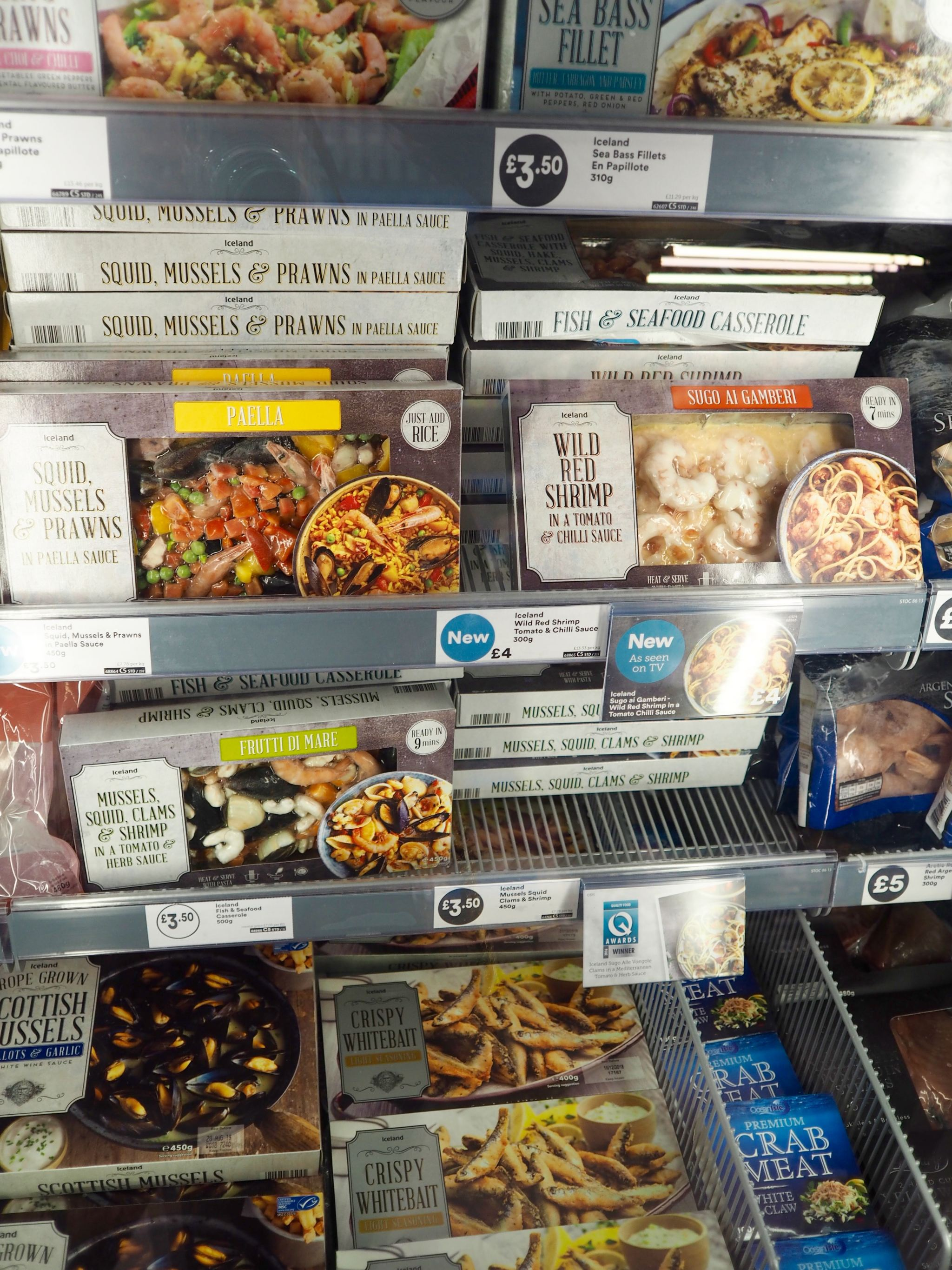 Cocoa Chelsea Iceland School of fish frozen food pasta