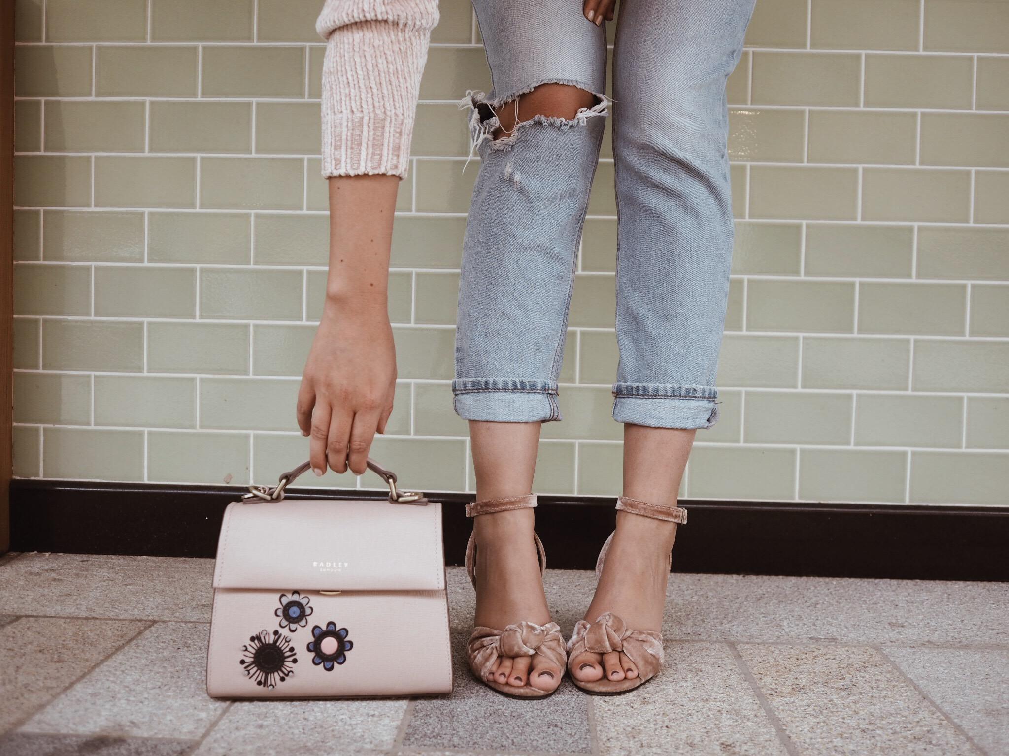 Cocoa Chelsea Radley handbag vintage zoomed in details velvet floral shoes