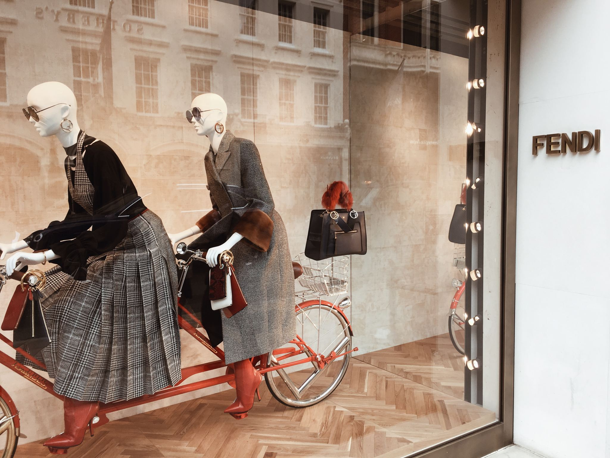 Fendi Bond Street Window Display cocoa Chelsea window shopping bicycle