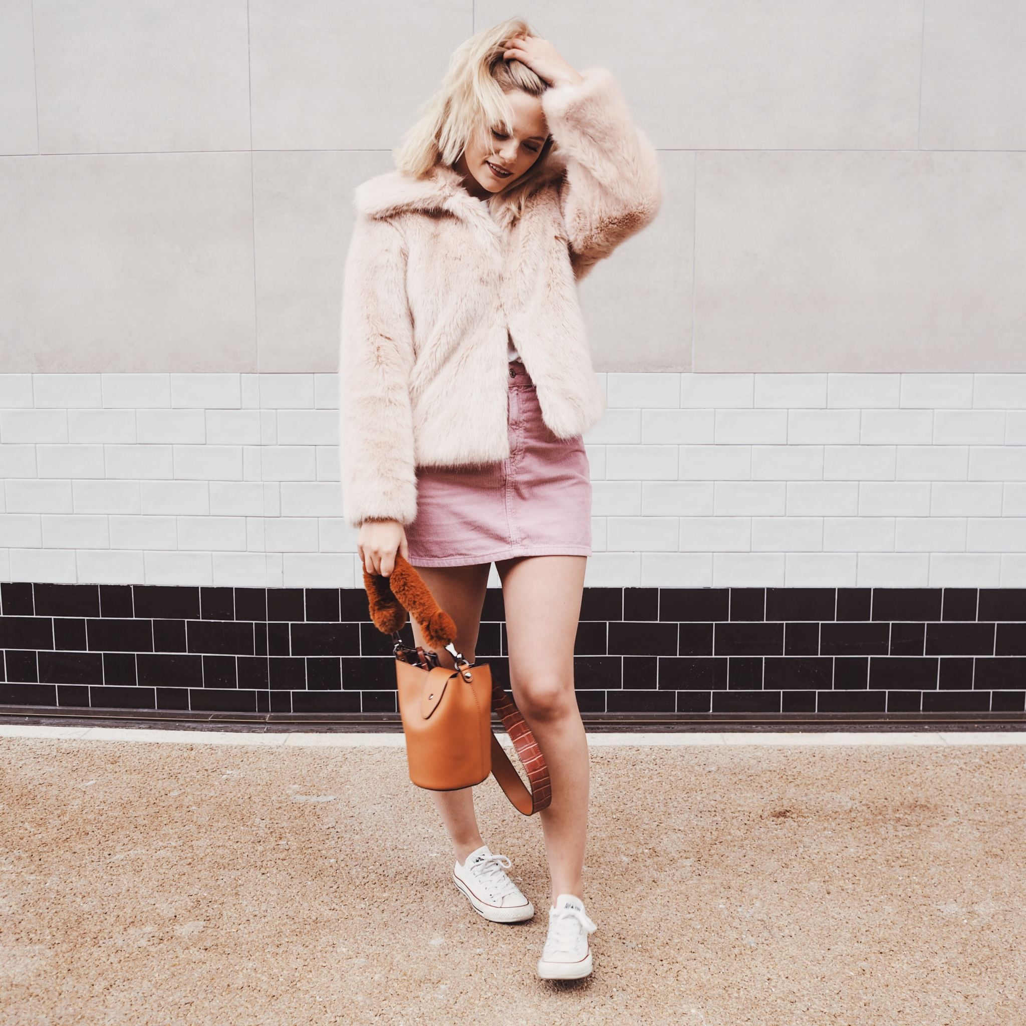 topshop coat, fur coat bag new season trends autumnal clothing brown bag wind windy weather