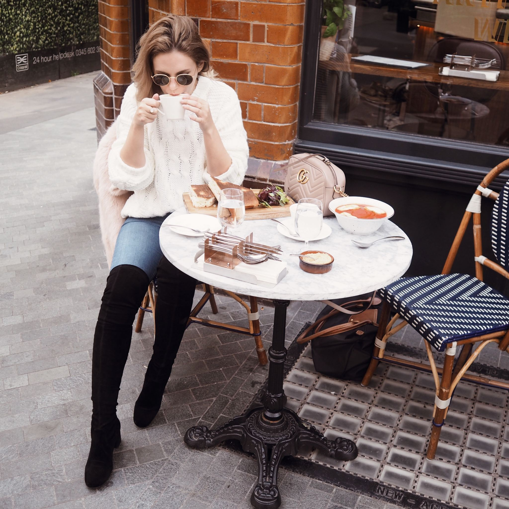 Selfridges Maje boots luxury london street style cocoa chelsea cafe scene